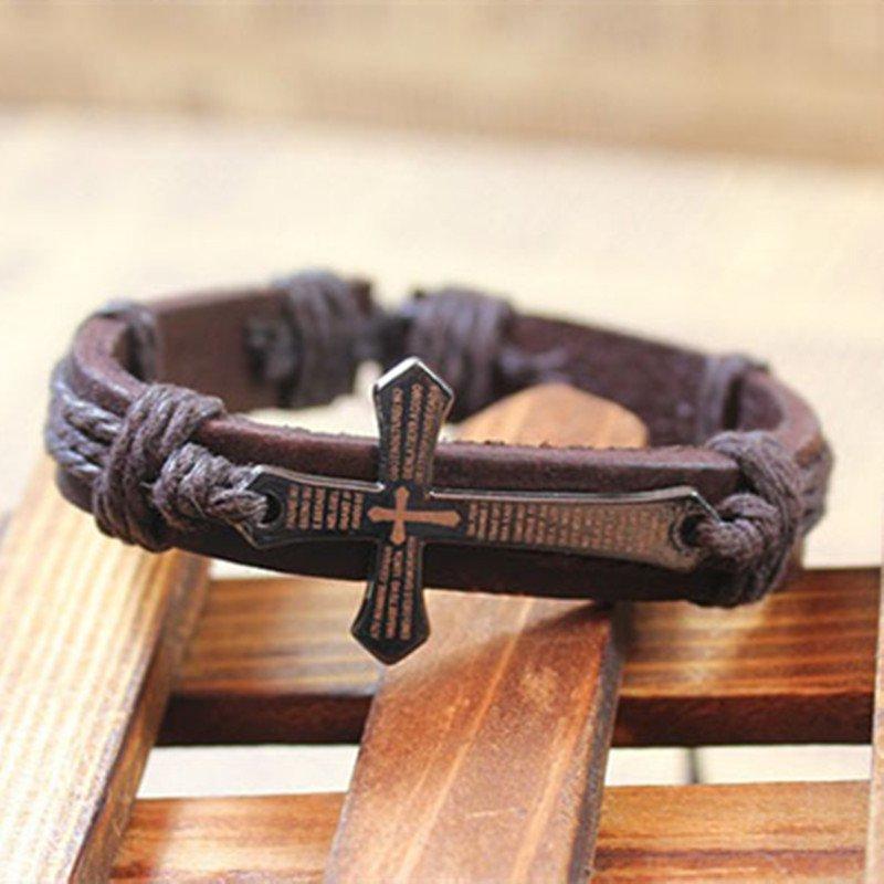 Alloy Bible Cross Pattern PU Leather Bracelet