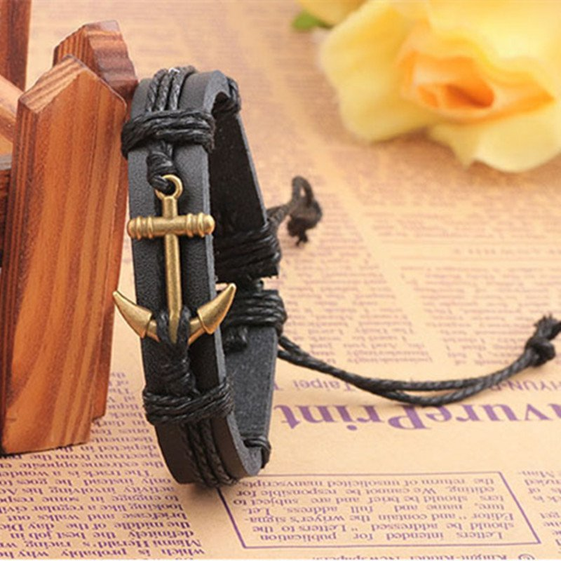 Alloy Anchor Contrast PU Leather Bracelet