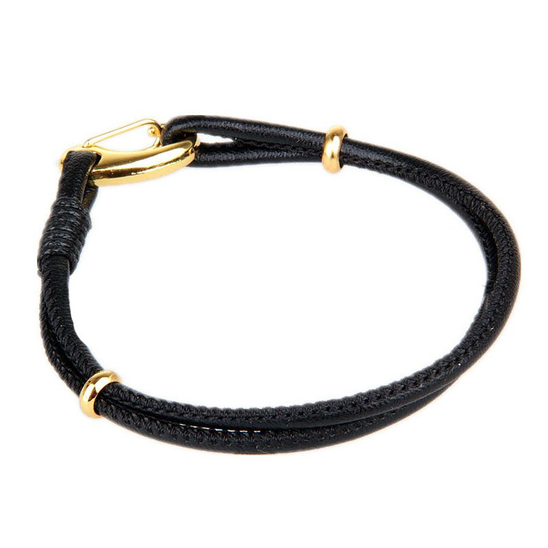 Elegant Golden Alloy Button PU Leather Bracelet