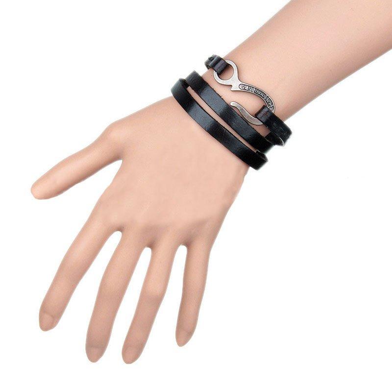 Adjustable Multilayer Alloy Hook PU Leather Bracelet