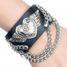 Alloy Heart & Angel Wings Pattern PU Leather Bracelet With Chains