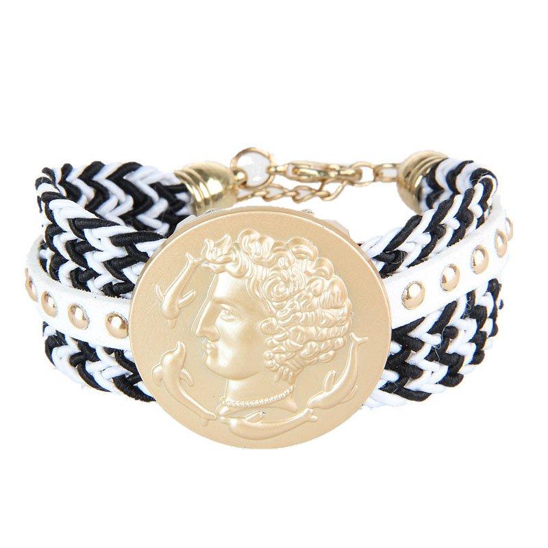 Bohemia & Ancient Greece Pattern Metal Rivets Braid Bracelet