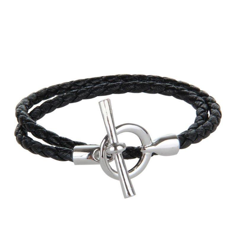 """Black """"OT"""" Pattern PU Leather Bracelet"""