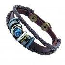 Diamond Pattern PU Leather Bracelet With Braided Rope