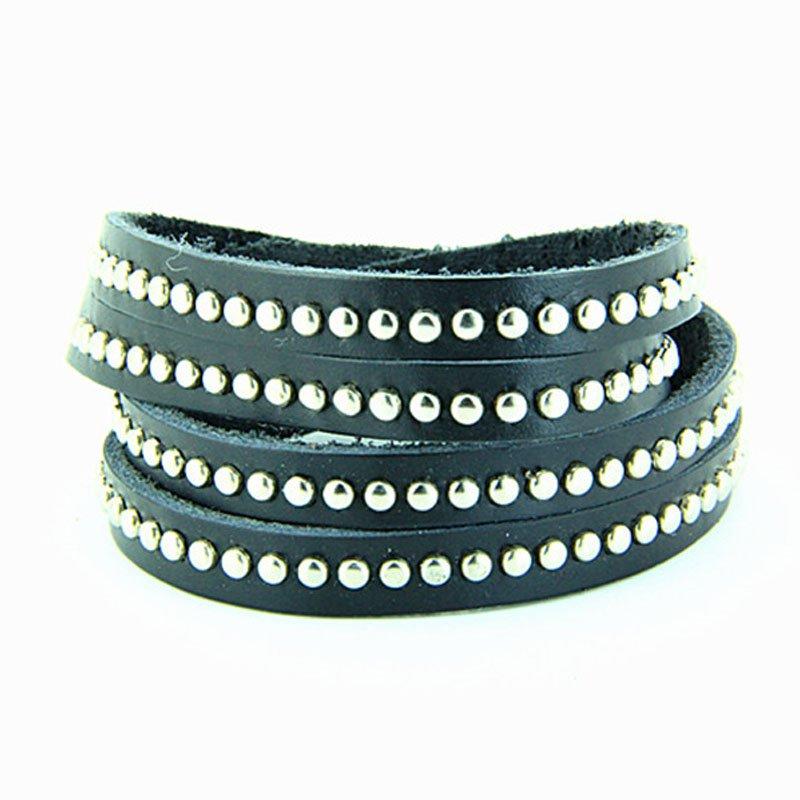 Multilayer Metal Rivets PU Leather Bracelet