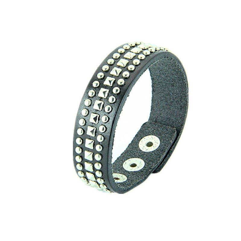 Punk Alloy Rivets PU Leather Bracelet
