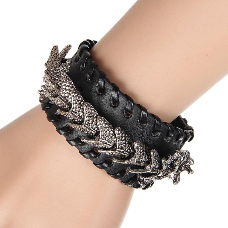 Gogeous Dragon Pattern PU Leather Bracelet