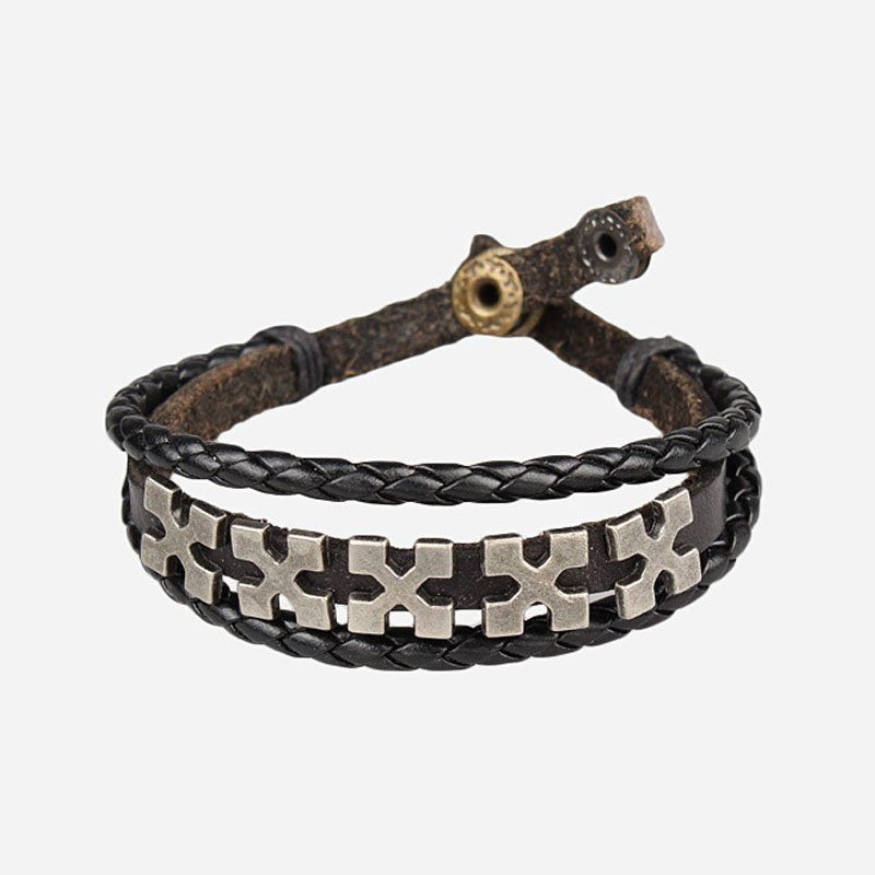 Fashion Cross Pattern Snap Button PU Leather Bracelet