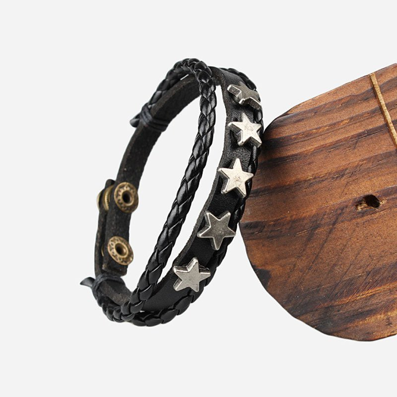 Five Stars Pattern Snap Button PU Leather Bracelet