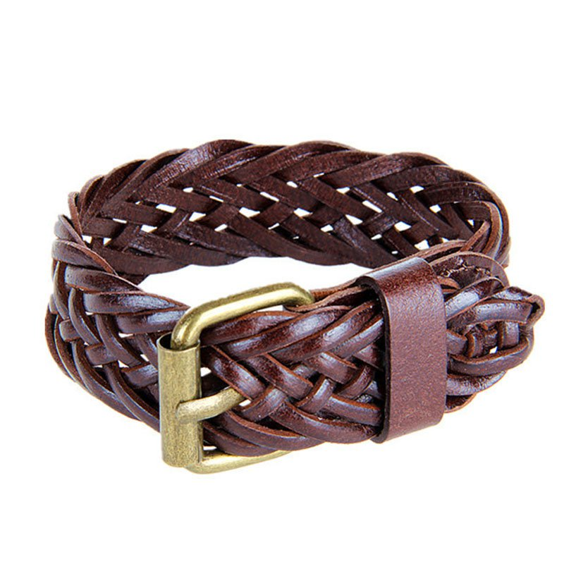 Buckle Adjustable Braid PU Leather Bracelet Two Colors