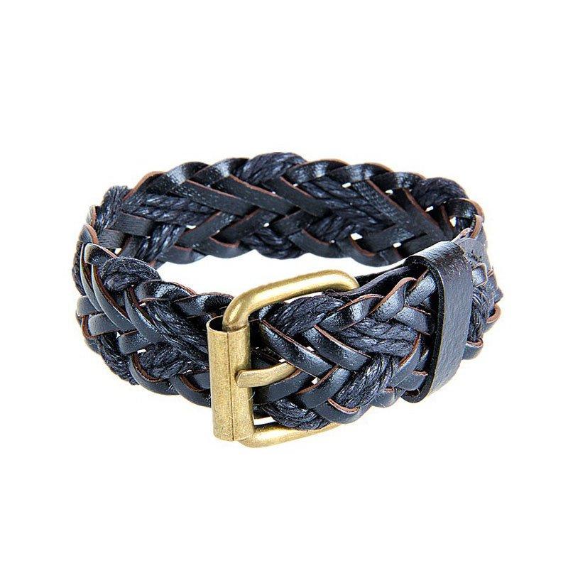 Vintage Adjustable Braid PU Leather Bracelet