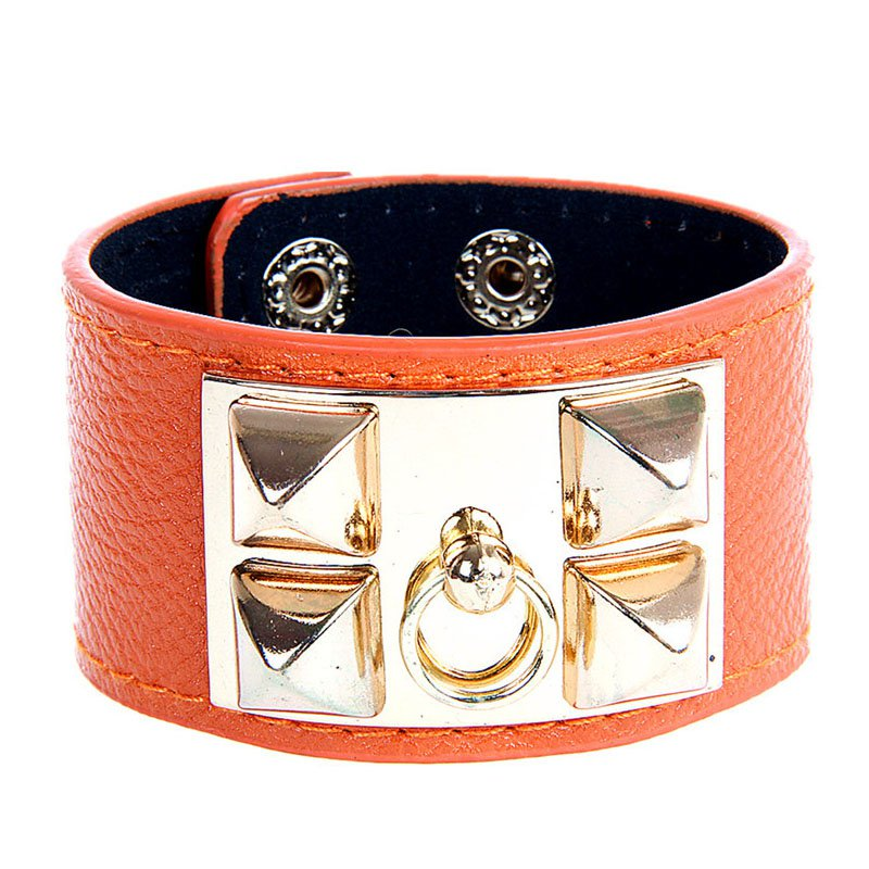 Alloy Rivet Rock PU Leather Bracelet