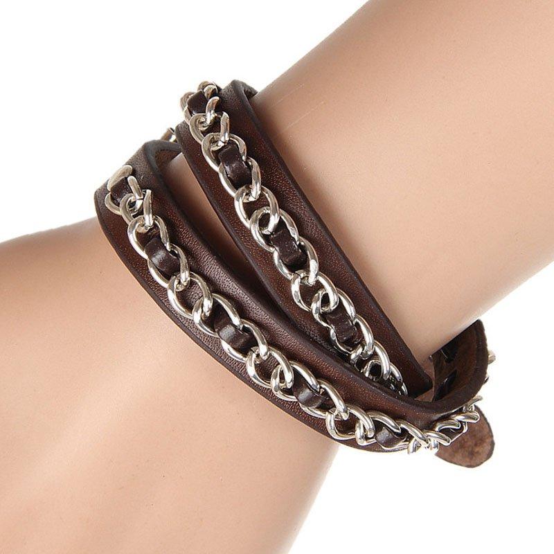 Punk Metal Chains Belts PU Leather Bracelet