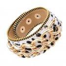 Fashionable Gold Chain Snap Button Leather Bracelets