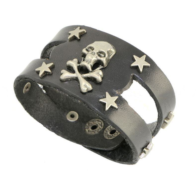 Punk Design Metal Star Skull Snap Button Leather Bracelets
