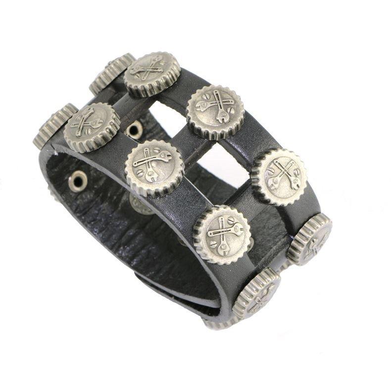 Punk Style Metal Soda Cap Snap Button Leather Bracelets