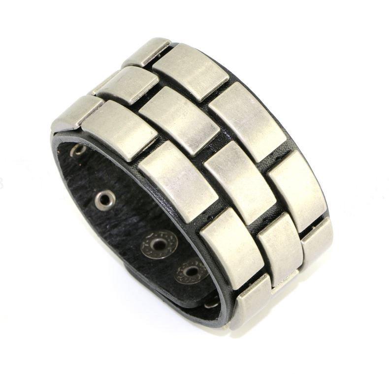 Luxury Golden Alloy Metal Snap Button Leather Bracelets