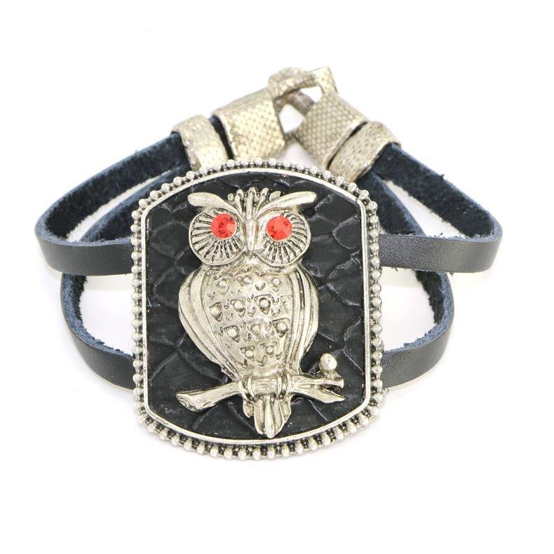 Classic Metal Owl Black Alloy Leather Bracelets