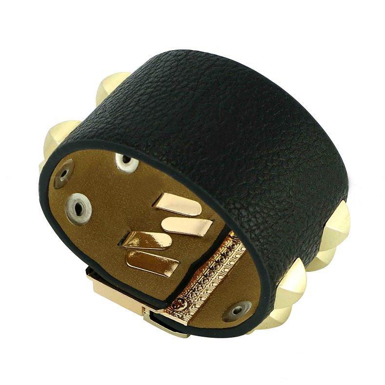 Charming Fashion Bangles Gold Rivet Alloy Leather Bracelets