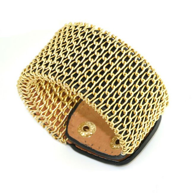 Luxury Bright Gold Chain Snap Button Alloy Leather Bracelets