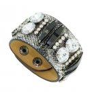 Luxury Bright Diamond Crystal Snap Button Leather Bracelets