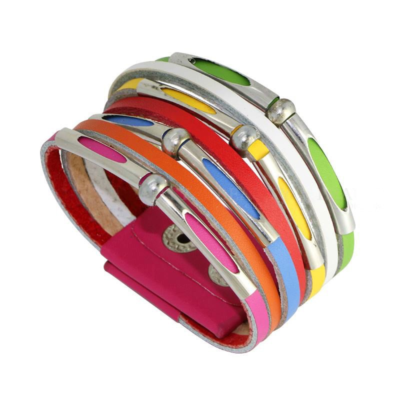 Punk Style Colorful Snap Button Alloy Leather Bracelets