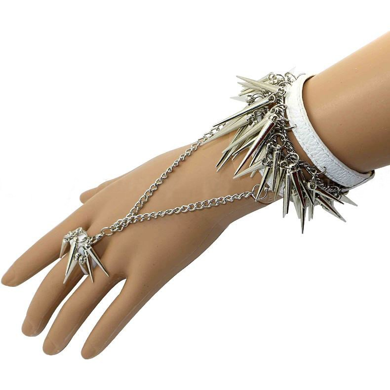 Alluring Long Spike with Attatched Ring Leather Bracelet
