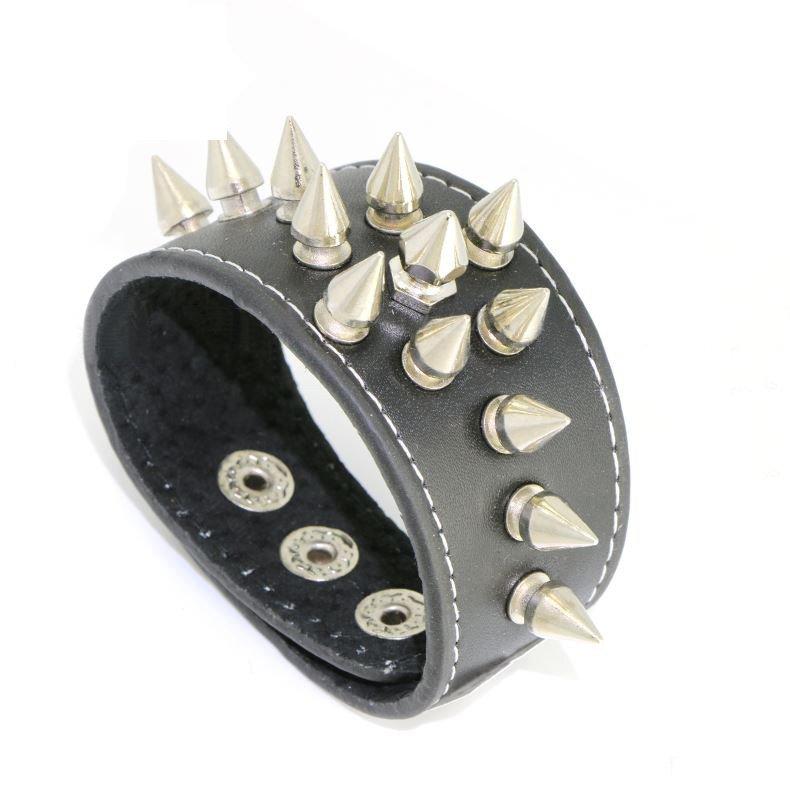 Men's Sharp Metal Rivets Classic Black PU Leather Bracelet