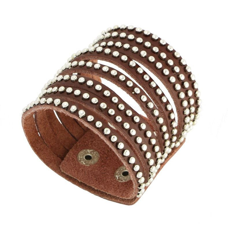 Brown Fashion Sparkling Crystal Soft Comfortable Rhinestones Leather Bracelet