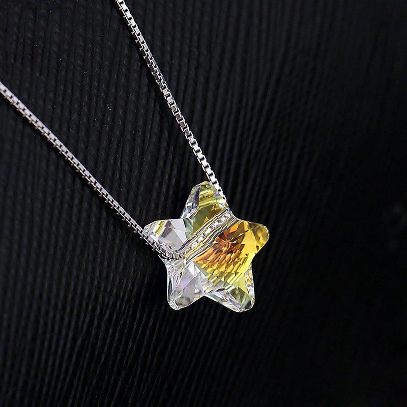S925 Sterling Sliver Star Pendant Necklace Made with Swarovski Elements Crystal