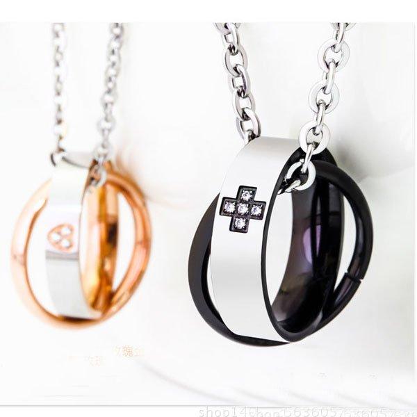 Valentine Interlocking Double Rings Diamond Necklace