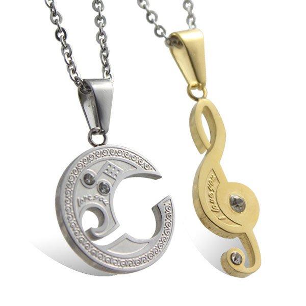 Fashion Collage Music Notes Titanium Couple Pendant Necklaces