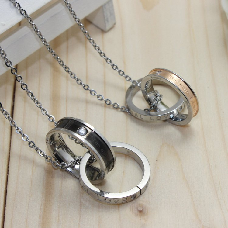Elegant Double Interlocking Rings Pendants Chain Necklaces