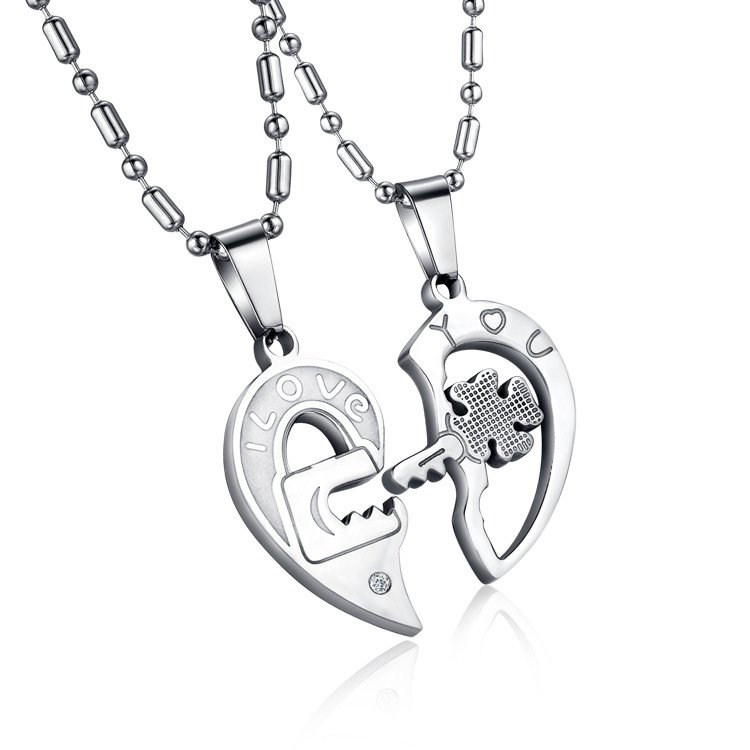 Stainless Steel Key Puzzle Couple Necklace