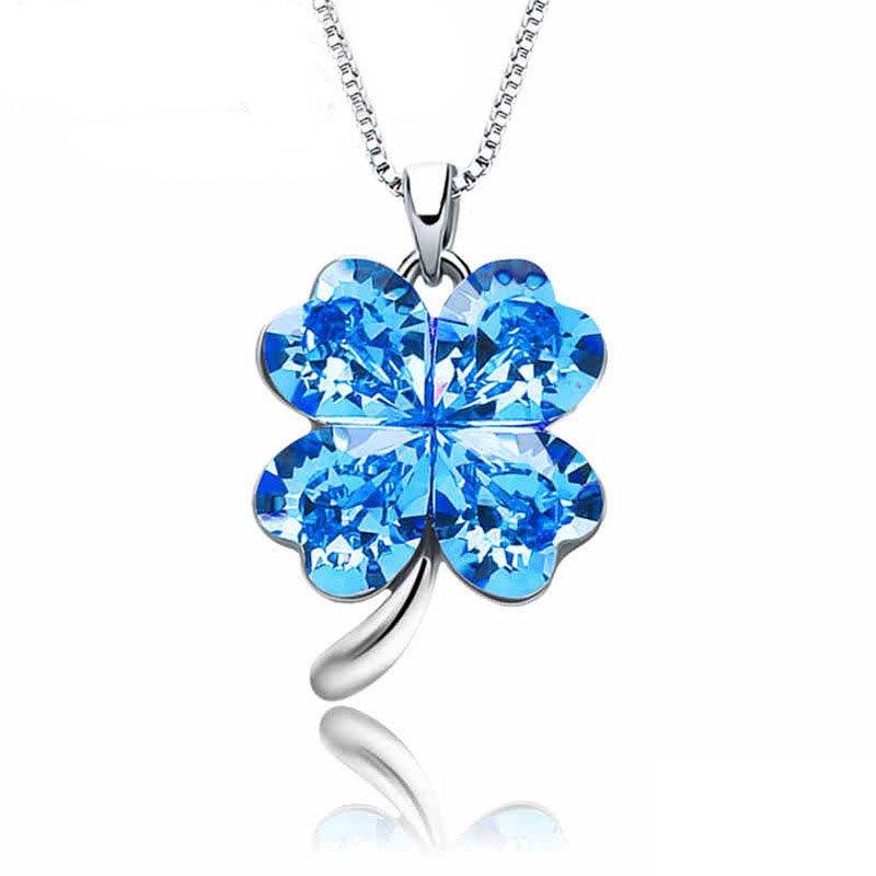 Four Leaf Clover Heart Shaped Swarovski Elements Crystal Alloy Pendant Necklace