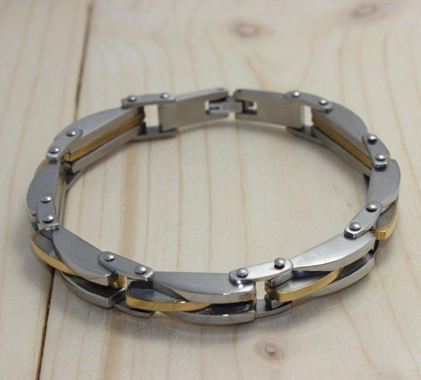 Two-stone Titanium Byzantine Men's Bracelet