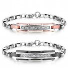 Diamond Embellished Titanium ID Couple's Bracelet