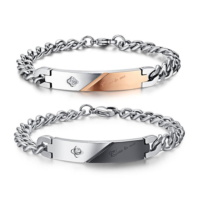 Diamond Couple ID Bracelet