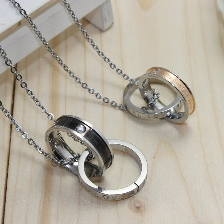 Elegant Double Interlocking Rings Pendants Chain Necklaces