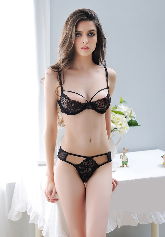 Two-Piece Lace Sheer Bralette Lingerie