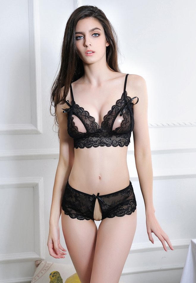 Sexy Strappy See-through Lingerie Lace Open Cup Bra and Open Crotch Panty Set