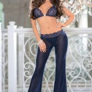 Two-piece Sheer Lace Cup And Mesh Pants Set