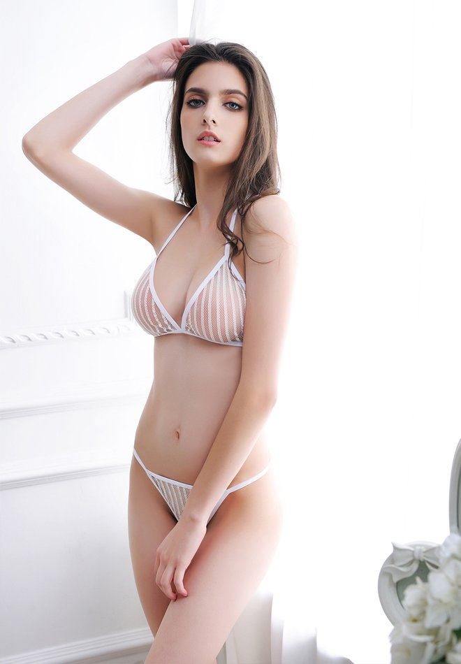 Three-Piece Lace Striped Sexy Appeal Suit
