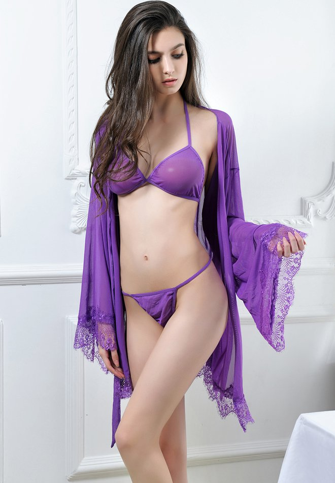 Sexy Lace Lingerie Night Dressing Robe