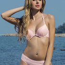 Lattice Lace Front Button Underwire Push Up Bra and Panty Set
