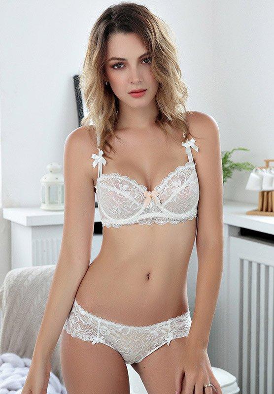 Sheer Lace Unlined Demi Bra Set