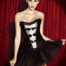 Satin White And Black Lace Strapless Corset