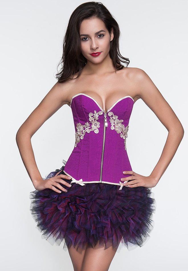 Classical Purple Embroidery Flower Zipper Overbust Corset