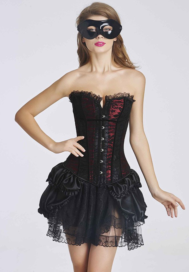 Satin Red And Black Lace Cover Overbust Corset