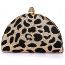 Leopard Print Mini Crystal Top Hard Clutch Bag